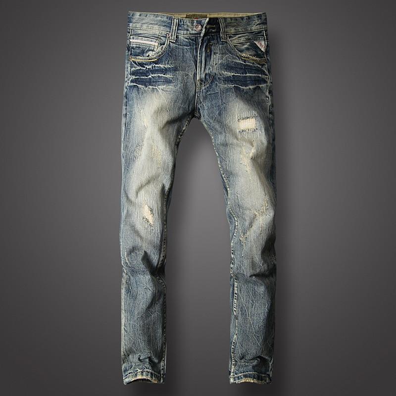 Fashion Classical Men Jeans Slim Fit Cotton Denim Pants Hombre Vintage Ripped Jeans For Men Streetwear Hip Hop Jeans Homme