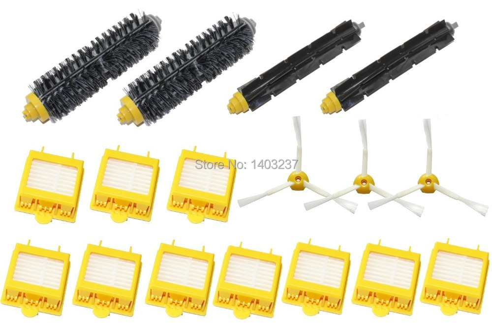 3-Armed Side Brush Hepa Filters Bristle Brush Flexible Beater Brush Pack Kit for iRobot Roomba 700 Series 760 770 780 790