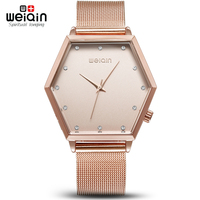 Hexagonal Star WEIQIN Brand Luxury Crystal Gold Watches Women Fashion Bracelet Quartz Watch Relogio Feminino Orologio
