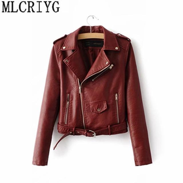 MLCRIYG Fashion Faux PU Leather Jacket Female Autumn Spring Women's Leather Jacket Motorcycle Short Jackets For Women Coat YQ012