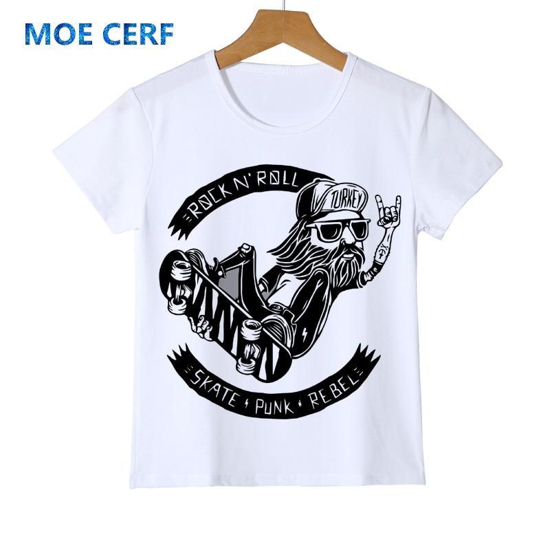 Childrens summer fun Skateboard old man T Shirt kid baby White T-shirts Tee Boy girl Hip hop Skate Tshirt Tops Y14-24