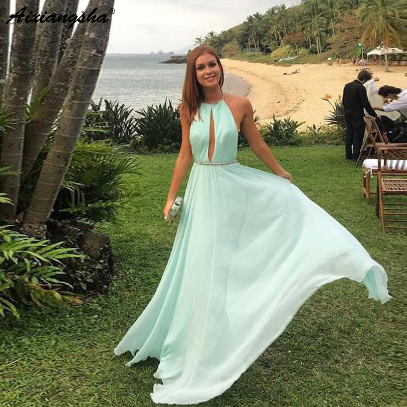 Simple Design Halter Neck Key Hole Mint Party Prom Gown A-Line Chiffon Backless Prom Long Elegant Dresses