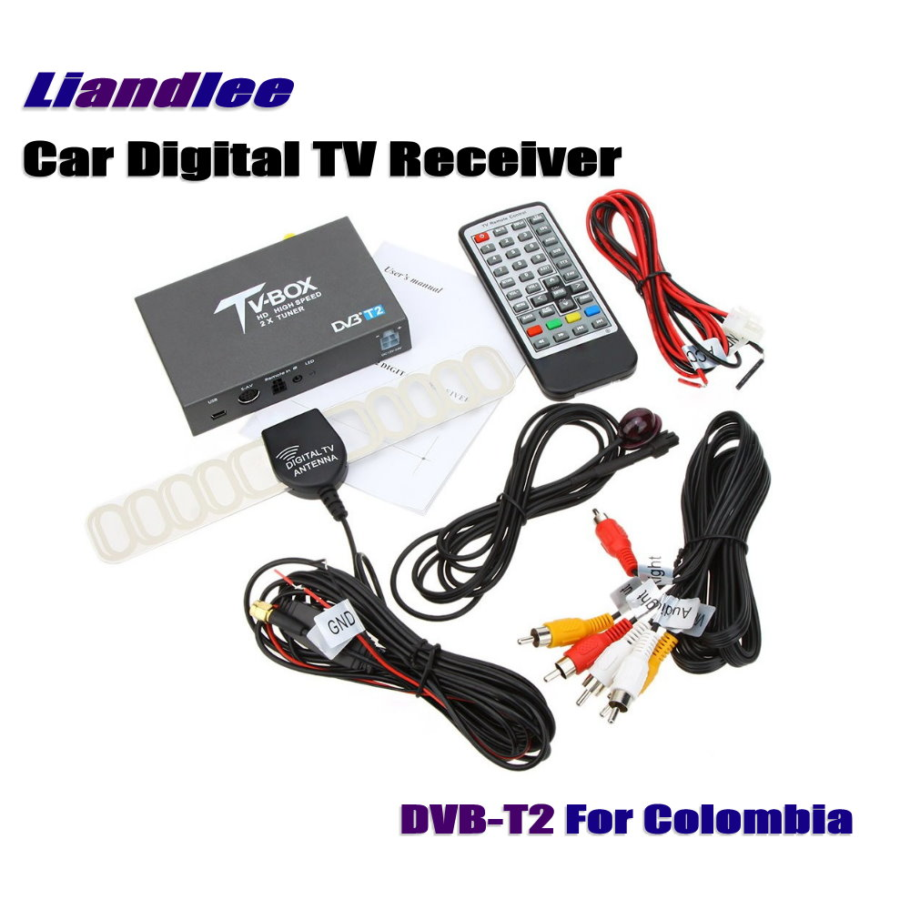 Liandlee Colombia Car Digital TV Receiver Host DVB-T2 Mobile HD TV Turner Box Antenna RCA HDMI High Speed / Model DVB-T2-T337 hot digital car tv tuner dvb t2 car tv receiver hdmi 1080p cvbs dvb t2 support h 264 mpeg4 hd tv receiver for car free shipping