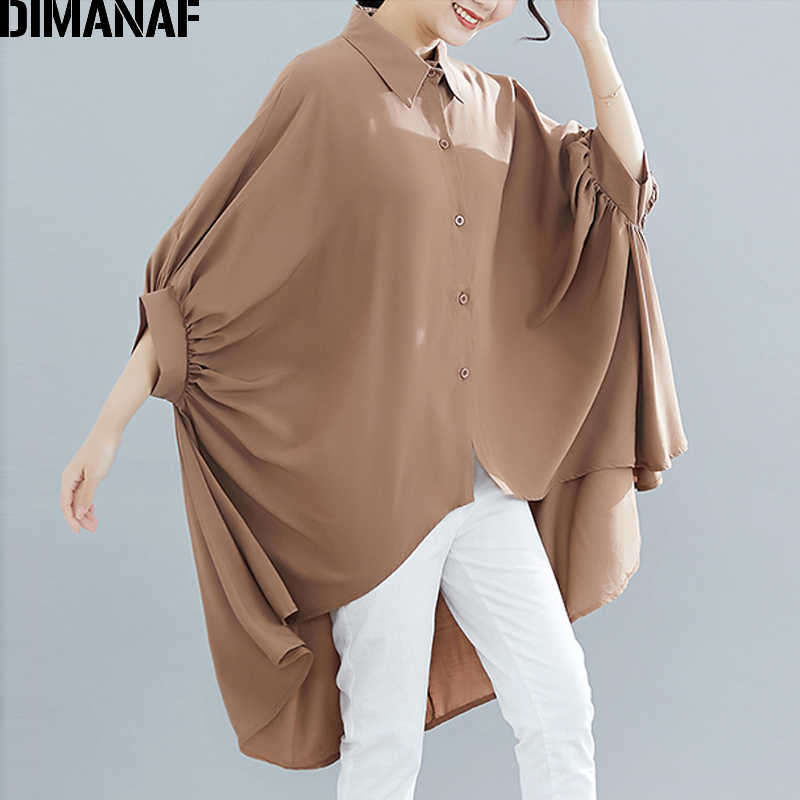 Dimanaf Plus Size Vrouwen Blouse Shirts Big Size Zomer Lady Tops Tuniek Solid Loose Casual Batwing Vrouwelijke Kleding 5XL 6XL 2019 Nieuwe