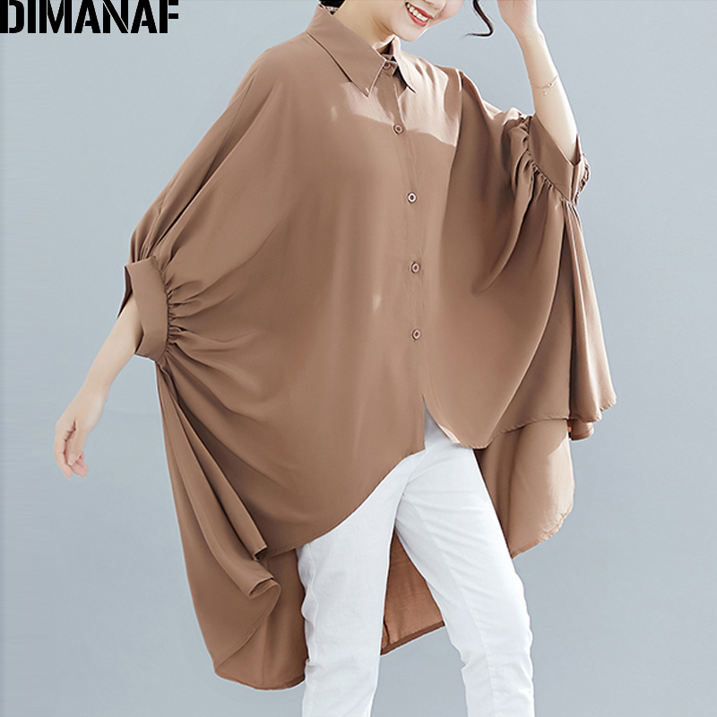DIMANAF Plus Size Women Blouse Shirts Big Size Summer Lady Tops Tunic Solid Loose Casual Batwing Female Clothes 5XL 6XL 2019 New