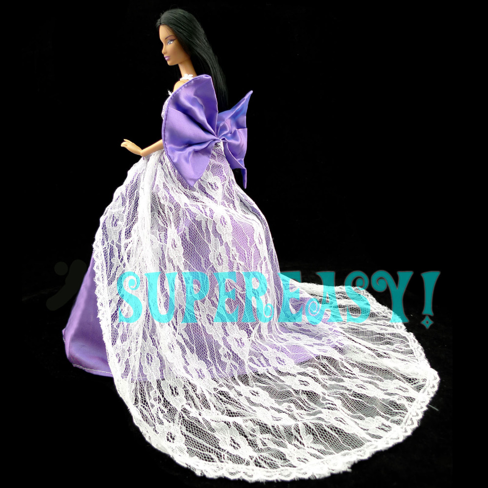 Royalty Attractive Purple Costume Princess Robe With Bowknot Lace Trailing Garments For Barbie Doll Ladies Reward Fake Play Toy