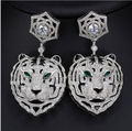 Anniversary Of Milan High Quality Silver Plated Earrings Are CZ Diamond Female Leopard Head long Earrings FREE SHIPPING