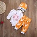 """Bebê recém-nascido meninas meninos roupas orange cervos macacão + calças leggings + chapéu 3 pcs roupas conjunto com """"Oh cervos eu estou aqui"""" impressão"""
