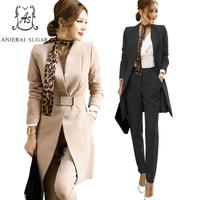 Autumn 2 piece set women black Khaki Sexy suit V neck long coat & Slim trousers whit Belt scarf OL office business Ladies suits