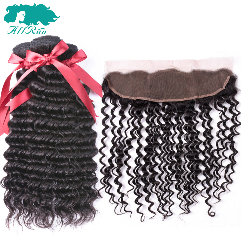 Allrun Brazilian Hair 3 Bundles With Frontal 100% Human Hair Deep Wave Bundles With Closure Non Remy Hair Extensions