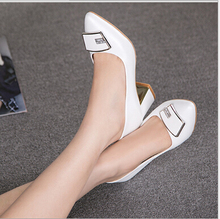 2016 The spring and autumn period and sheepskin pointed the new women's shoes with shallow thick with high women's shoes