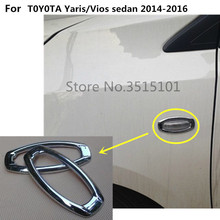 Lamp Trim 2pcs Car Cover ABS Chrome Front Side Foliage Leaf Fender Vents Air Outlet For Toyota Vios/Yaris Sedan 2014 2015 2016
