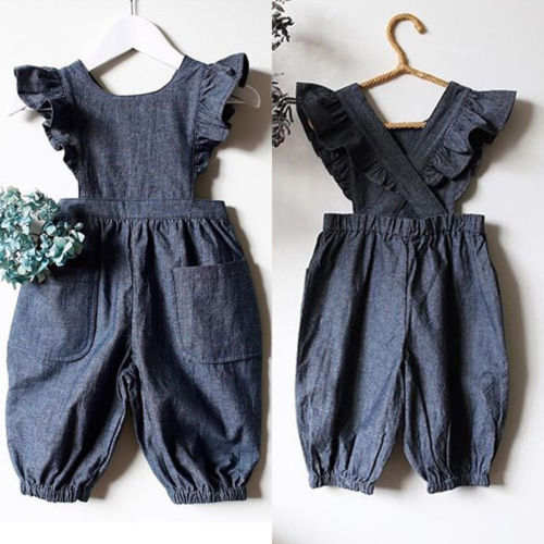 f72f98f6da9a6 US $4.1 28% OFF|2018 New Kids Denim Rompers Baby Girls Pocket Ruffles  Romper Sleeveless Jumpsuit Sunsuit Pants Children Summer Outfits  Clothing-in ...