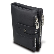 Men Wallet For Double zipper Genuine Leather small wallet RFID Male Slim Man Card purse Money Bags
