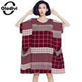 Oladivi Big Plus Size Clothing for Women 2017 New Summer Fashion Print Casual Loose Dress Short Sleeve Pockets Dresses Vestidos