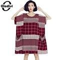 Oladivi grandes tallas grandes ropa para mujeres 2017 verano nueva moda casual imprimir loose dress de manga corta bolsillos vestidos vestidos