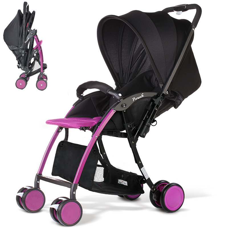 Lightweight 5.4KG Baby Stroller, Aluminium alloy frame baby pram, two way push baby cart can sit&lie, one hand can fold in 1S fold baby stroller one hand fold portable baby carriage can sit and lie umbrella cart with travel bag 5 8kg baby stroller