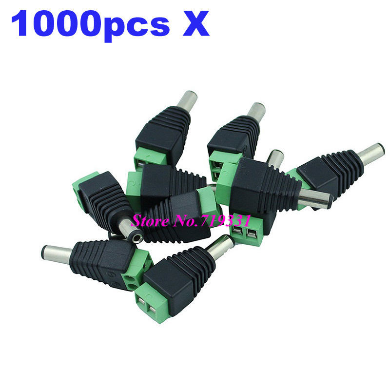 1000pcs DC 5.5mm x 2.1mm male CCTV Camera LED DC Power plug Adapter 4pcs 12v 1a cctv system power dc switch power supply adapter for cctv system