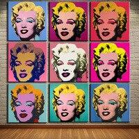 dp artisan אנדי וורהול 9 יחידות אמנות קיר מרילין מונרו שמן הדפסי ציור תמונות לחיים ציור על בד ללא מסגרת חדר