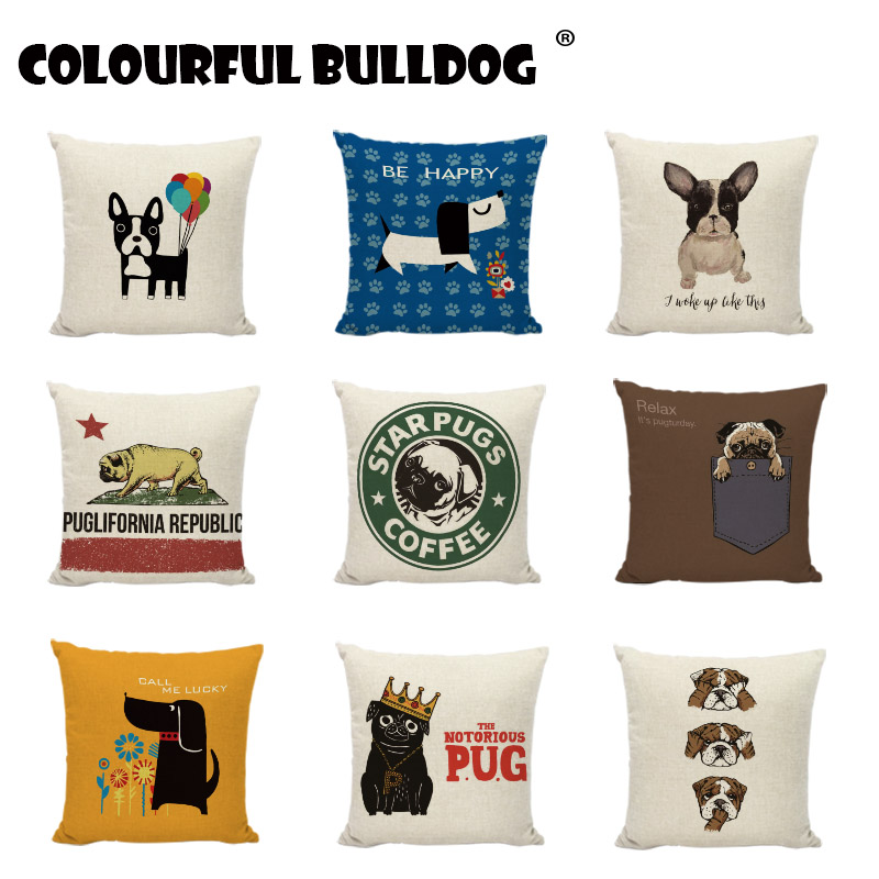 Creative Watercolor Animals Cushion Covers French Bulldog Pug Dog Dachshund Print Home Decor Gaming Chair Living Room Pillowcase