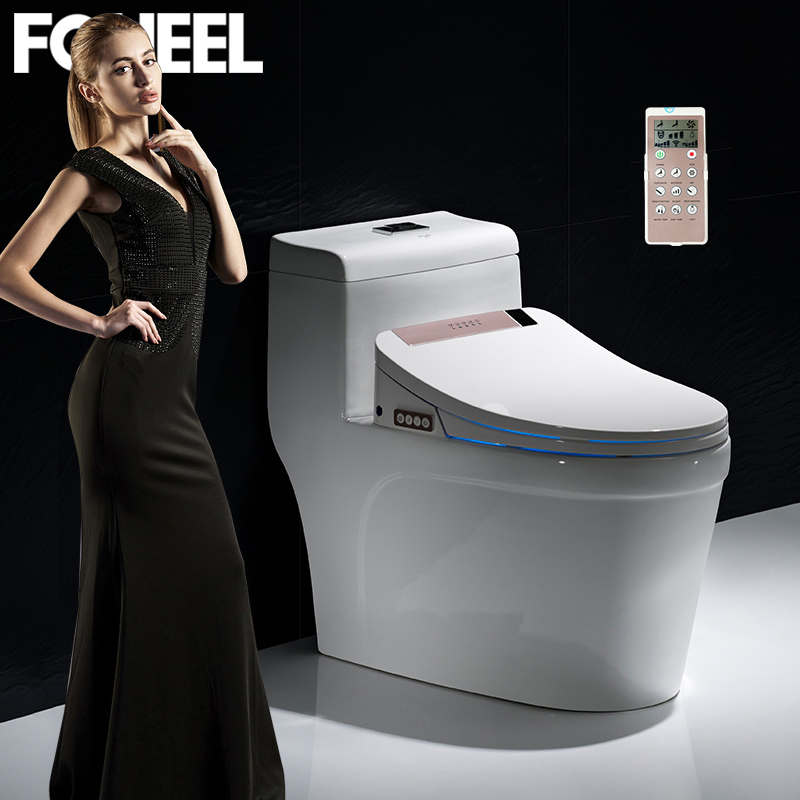 FOHEEL Rose gold smart toilet seat electronic bidet clean dry seat heating wc intelligent led light