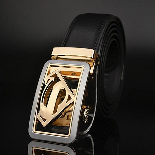 7d028fec86f Superman Designers luxe peau de vache marque en cuir véritable automatique  boucle ceintures pour hommes de