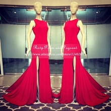 Cheap Floor Length Gowns Red Long Prom Dresses 2017 O-neck Sleeveless Stretch Satin Mermaid Prom Dress Slit