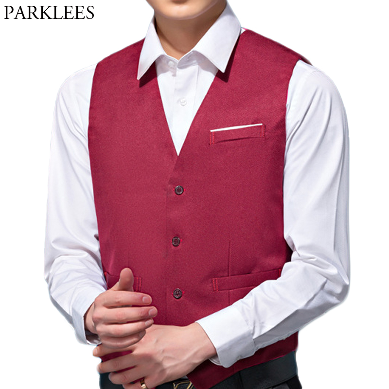 Mens V Neck Suit Vest Casual Regular Fit Single Breasted Wine Red Wedding Dress Waistcoat 2018 Business Work Gilet Homme Top 4XL