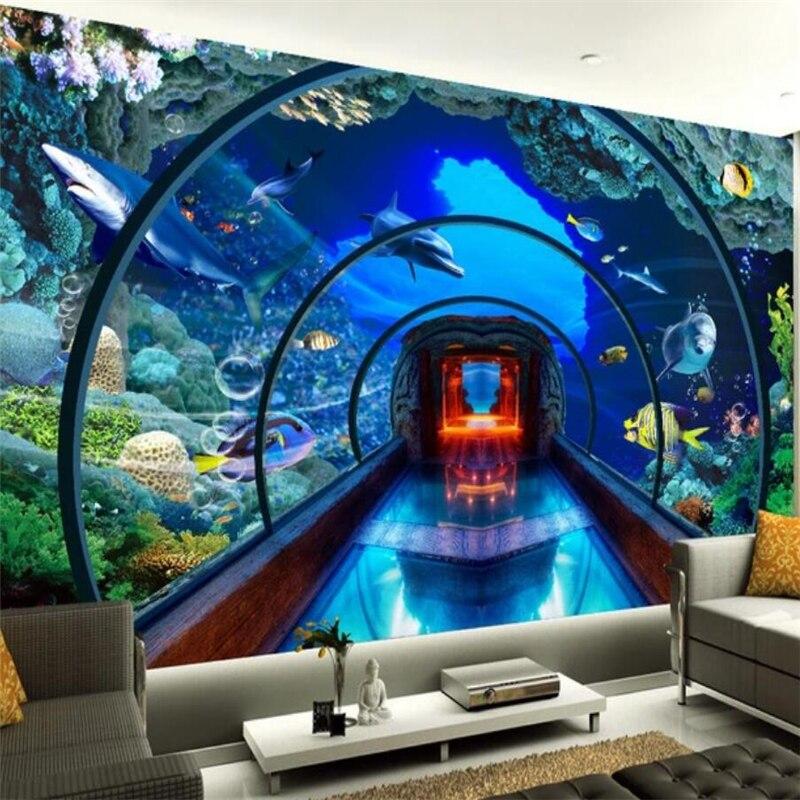 Купить с кэшбэком wellyu  Underwater World Aquarium 3D background wall painting custom large mural wallpaper papel de parede para quarto