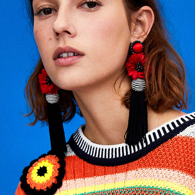 Dvacaman Brand Ethnic Floral Flower Drop Earrings