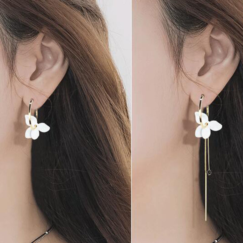 LNRRABC new 1 pair Free Shipping Allergy Unique Graceful Elegant Painted White Flower Asymmetric Gold Color Small Earrings Gifts