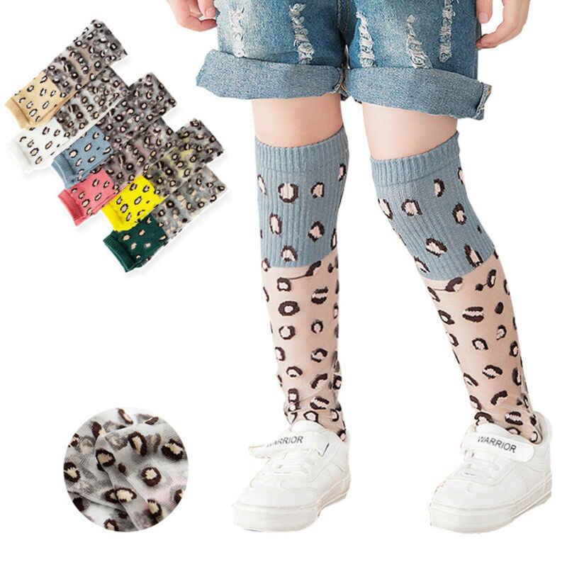 Calcetines para bebé niña de 2 a 8 años, calcetines de seda de vidrio para recién nacido, calcetines de verano hasta la rodilla, calcetines medios, calcetines de seda de vidrio estampados de leopardo