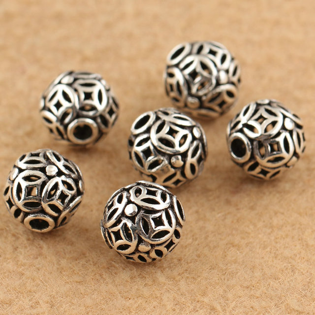 Handmade 925 Silver Good Luck Symbol Beads Sterling Wealth Ancient