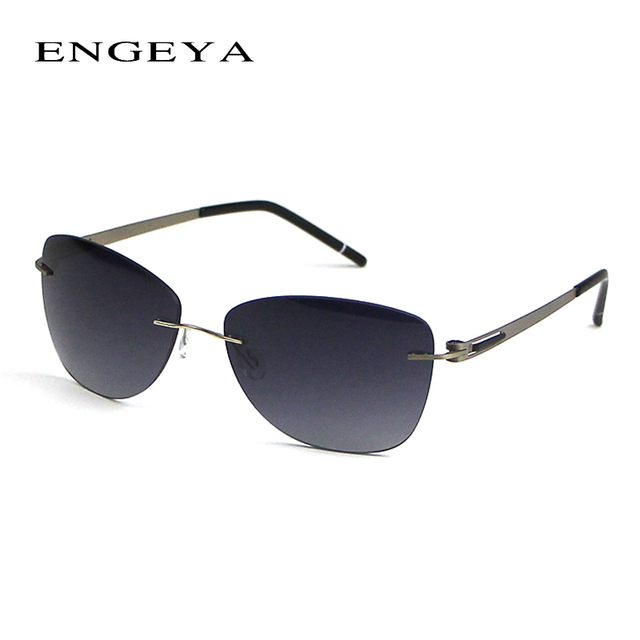 2016 ENGEYA New Fashion Super Light Stainless Steel Brand Designer Rimless Sunglasses Women Fishing Driving Sun glasses UV400