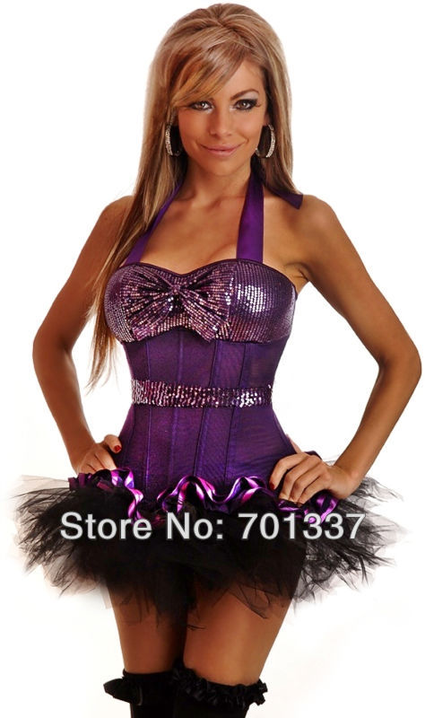 3 Colors Sexy lingerie   Bustiers   &   Corsets     Corset   +mini Skirt Fancy Dress party wear W1011 S--XXL