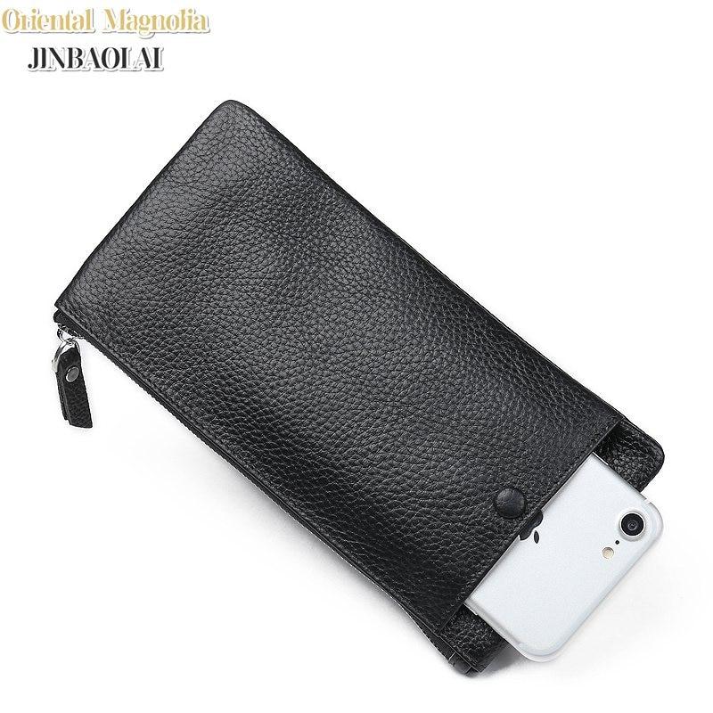 Lyxig 100% Läder Manlig Handväska Mans Clutch Plånböcker Handy - Plånböcker - Foto 1