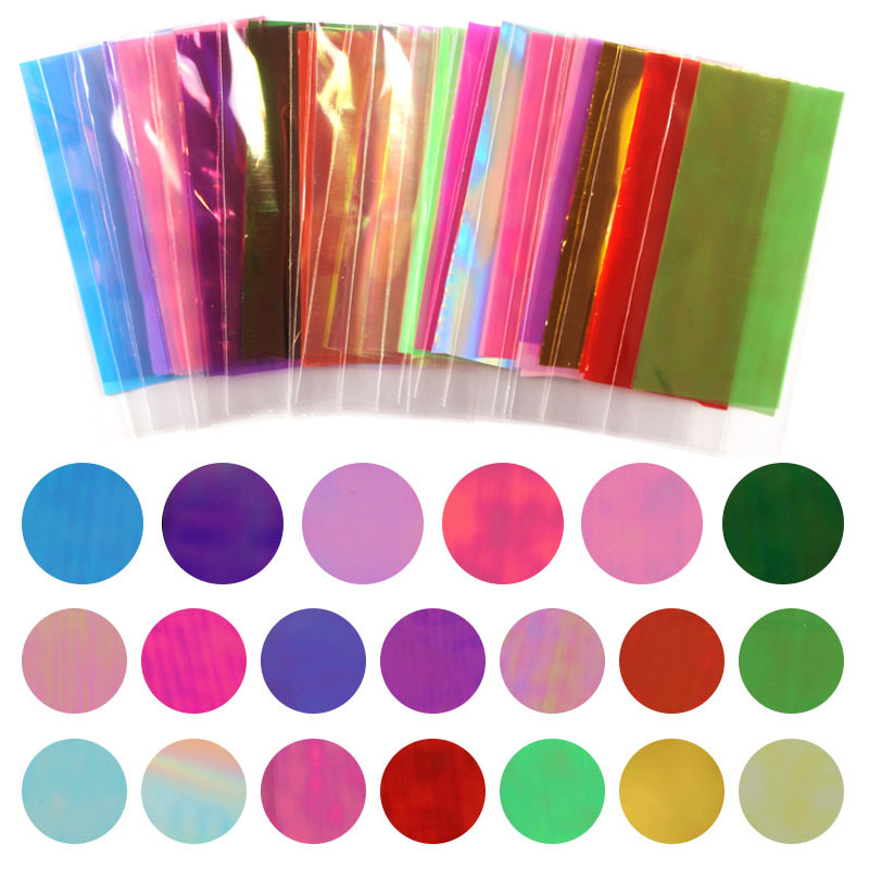 Hot Sale 20 Different Colors Broken Glass Pieces Mirror Foil Tips Stencil Decal Nail Art Sticker Cute Manicure Tools For DIY hot sale 20 sheets lot 20 4cm nail art transfer foil floral serial sexy black lace pattern nail sticker foil material diy wy188