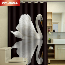 Modern Art Noble Swan Polyester Fabric Waterproof Shower Curtain Eco-Friendly Bathroom Curtain