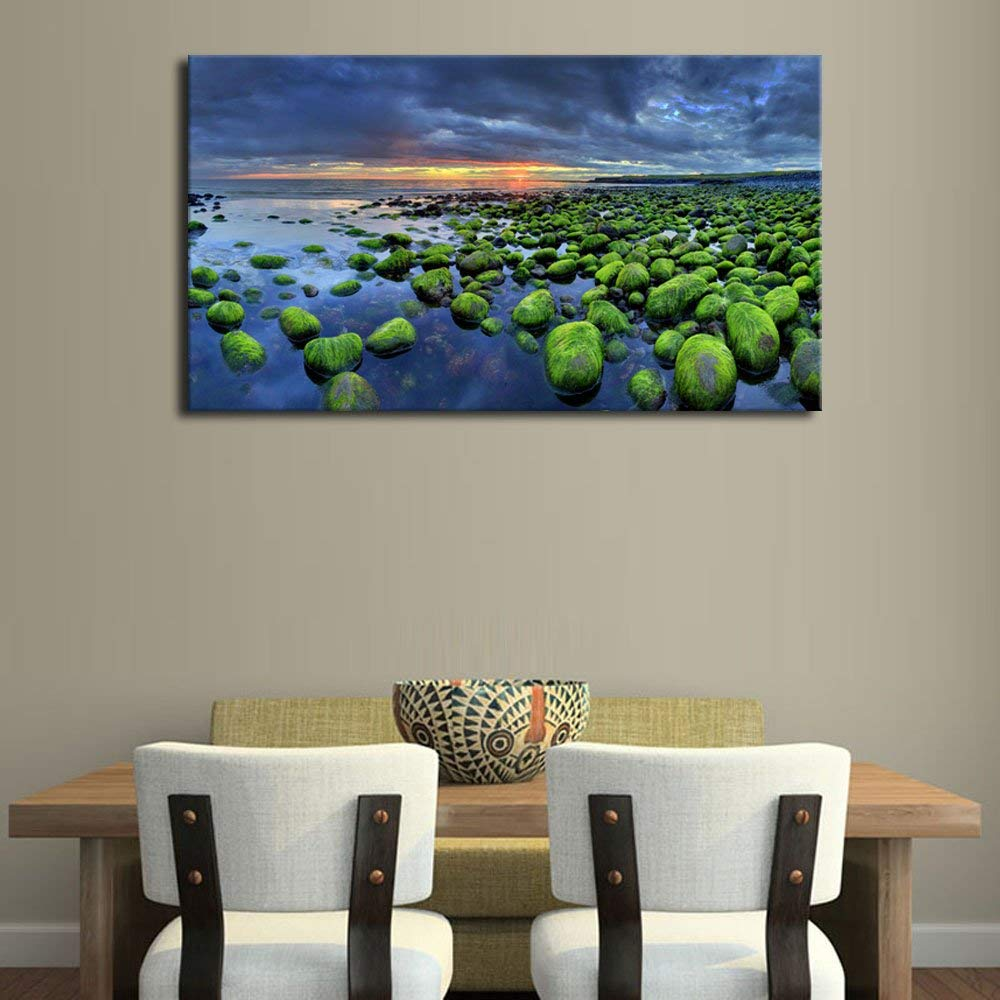 Wall Art Green Mossy Rocks Beach Sunset Scenery Iceland Sea Nature Picture Canvas Painting Print for Home Office Decor Gift