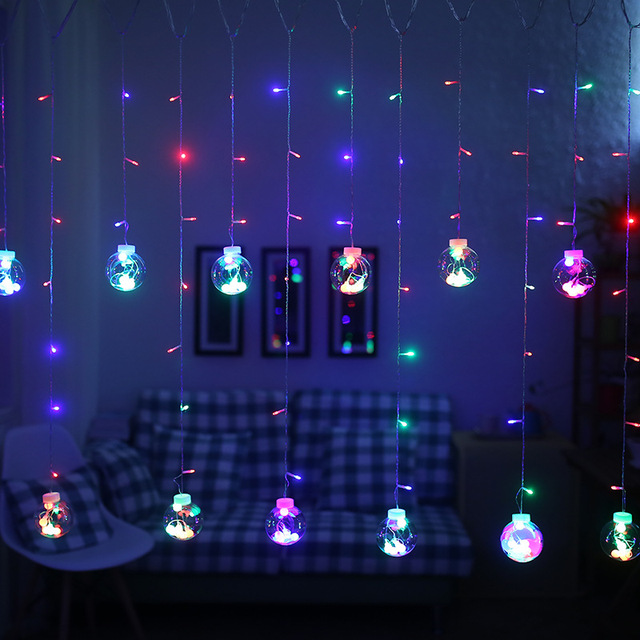 Wish Ball Globe Led String Lights Curtain Fairy Light Backyard Patio Decorative Outdoor Garland Wedding