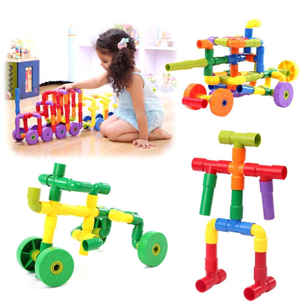Colorful Water Pipe Building Blocks Toys Set DIY Assembling Pipeline Tunnel Building Construction Toys Educaitonal Toy for Kids