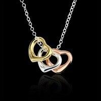 Три Сердца Мода любовь подарок последние 925 серебро колье Цепочки и ожерелья 18 ''Оптовая Для женщин Ожерелья для мужчин эксклюзивный подарок