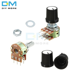 10 pçs lote potenciômetro resistor linear atarraxamento rotativo potenciômetro botão de tampão ohm b1k b2k b5k b10k b20k b50k b100k b250k b500k 1m