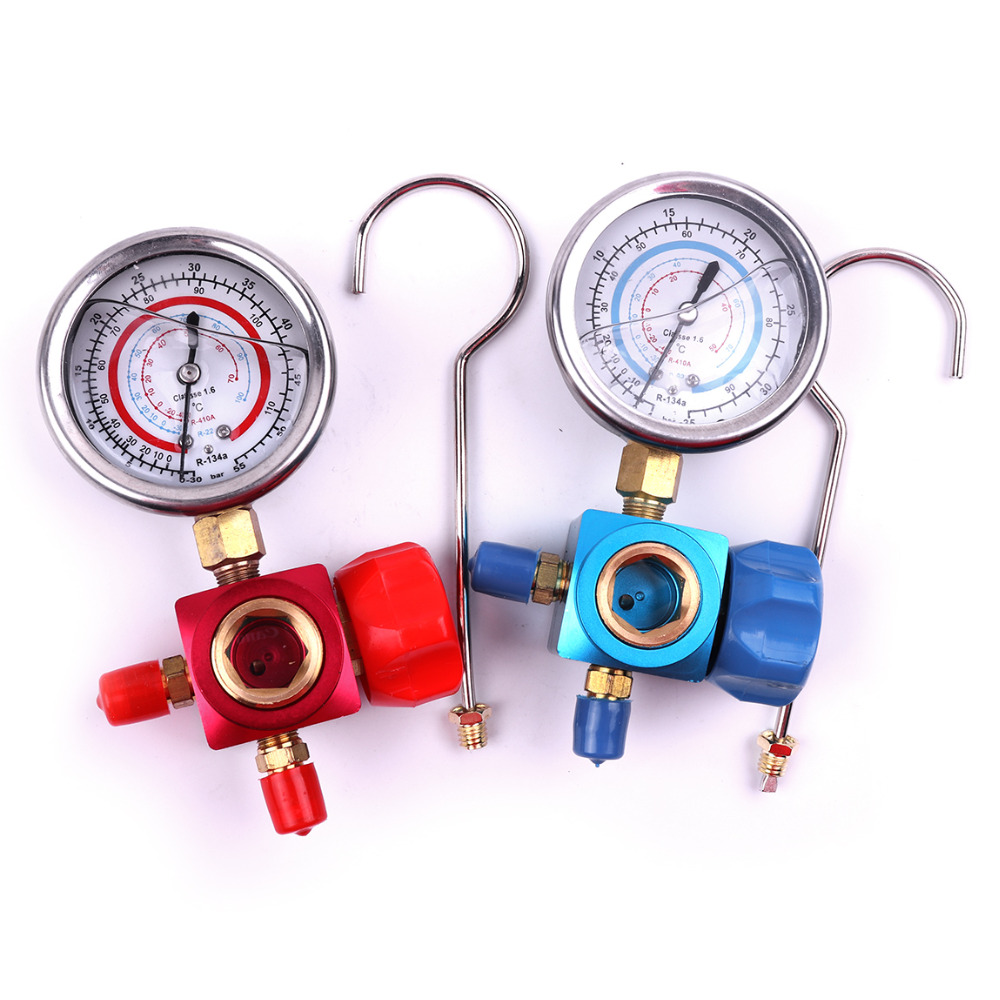 High Quality 1PC 1/4 H/L R410A R134A R22 Pressure Gauge Stainless Steel for Air Conditioning Refrigerant Manifold Gauge Red/Blue 2pcs auto car ac r134a h l quick coupler connector brass adapters 1 4sae air conditioning refrigerant manifold gauge page 4
