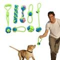 Algodón perro cuerda juguete nudo cachorro masticar juguetes de dentición Limpieza de dientes Pet Palying Ball para perros pequeños medianos grandes