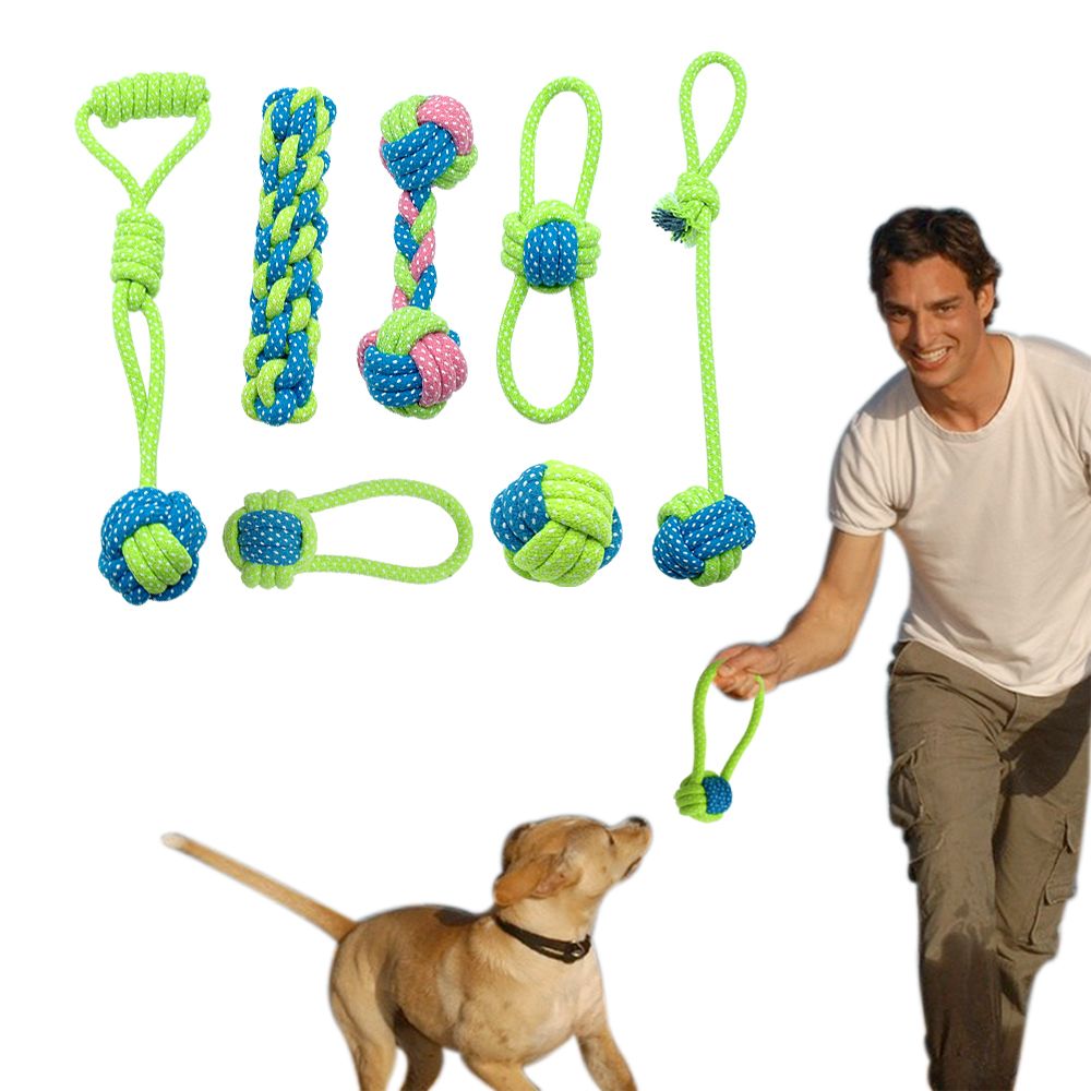 Cotton Dog Rope Legetøj Knot Puppy Chew Legetøj Legetøj Tænder Rengøring Pet Palying Ball For Small Medium Large Dogs