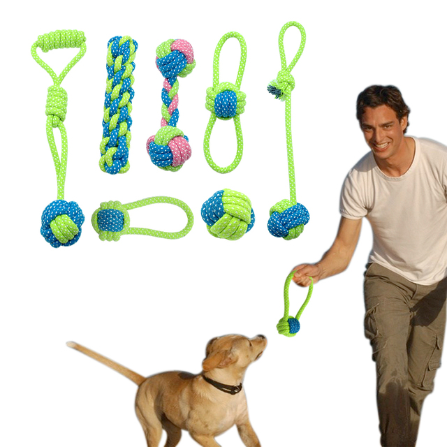 Cotton Dog Rope Toy Knot Puppy Chew Teething Toys Teeth Cleaning Pet Palying Ball For Small