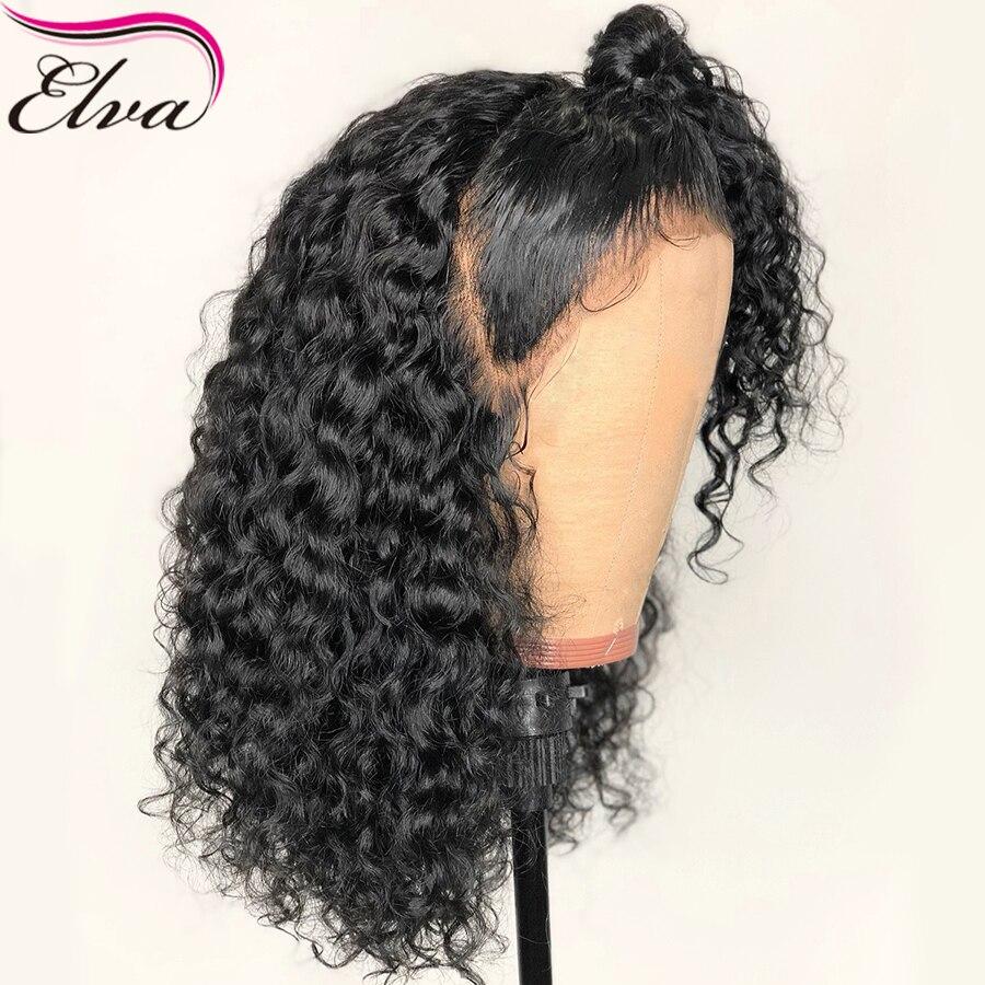 Perruques de cheveux humains bouclés pour femmes noires perruques brésiliennes sans colle pleine dentelle pré-cueillies avec des cheveux de bébé noeuds blanchis Elva perruque de cheveux
