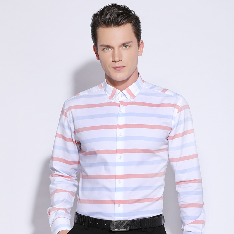better price for search for best lowest price US $26.73 46% OFF|Men's Contrast Wide Horizontal Striped Dress Shirt  Comfort Soft 100% Pure Cotton Casual Slim fit Long Sleeved Button down  Shirts-in ...