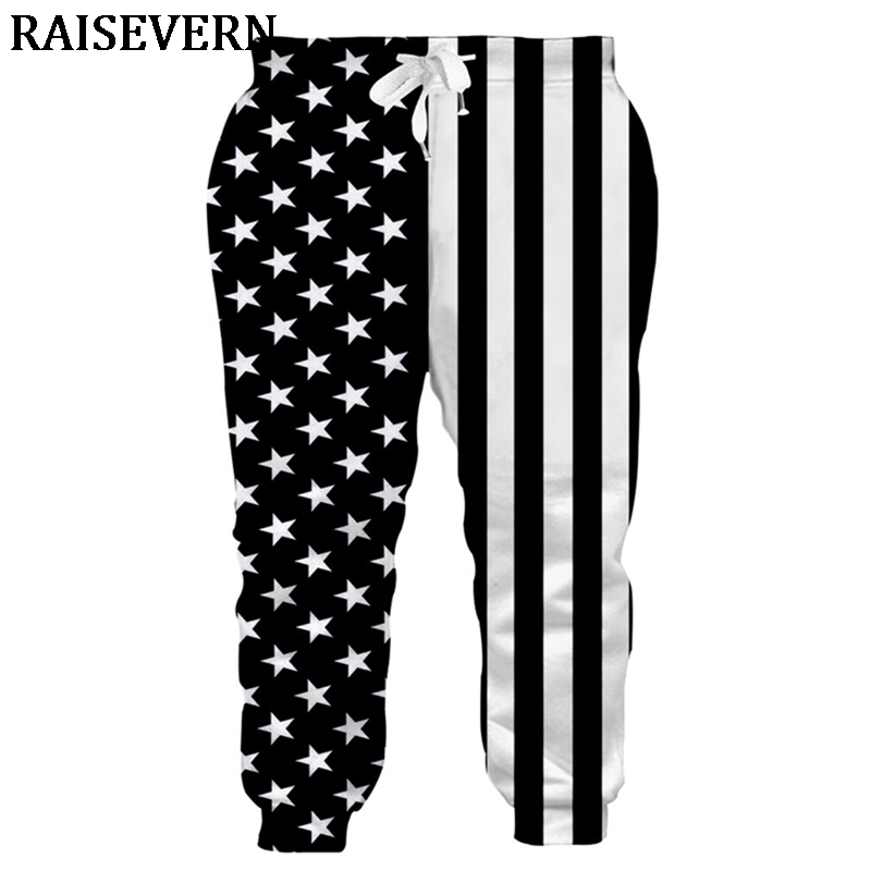 Men Casual Jogger Pants American USA Flag Printed Track Pants Mens Stars Stripe Sweatpants Slim Elasticity Fitness Sweatpants